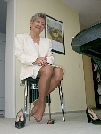 germannylonpics Mature lady in tan nylons with reinforced toe