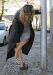 germannylonpics At the bus stop - woman in rht - pantyhose
