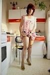 germannylonpics Housewife in tan pantyhose in the kitchen